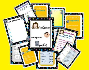 polka dot behavior management bundle with posters and more