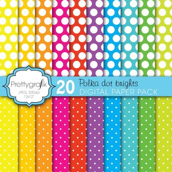 polka dot brights digital paper, commercial use, scrapbook