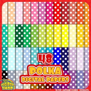 "polka dot digital paper in 48 colors - background pattern .jpg 12""x12"""