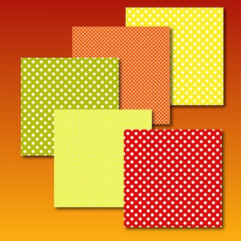 polka dot digital paper in fall colors - 24 .jpg papers in 2 polka sizes  TPT168