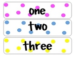 polka dot number words 0-100 white background English