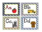 polka dot small word wall alphabet cards