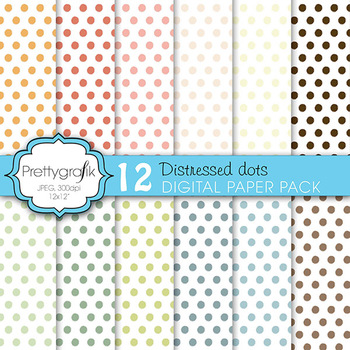 polka dots digital paper, commercial use, scrapbook papers