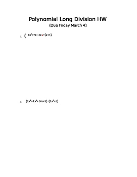 polynomial Long division HW