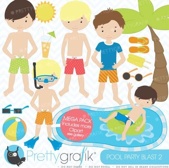 pool party clipart commercial use, vector graphics, digital clip art - CL453