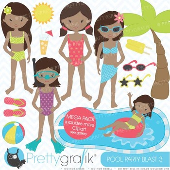 pool party clipart commercial use, vector graphics, digital clip art - CL454