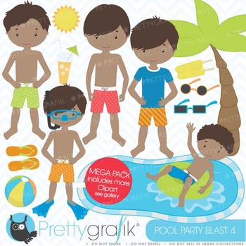 pool party clipart commercial use, vector graphics, digital clip art - CL455