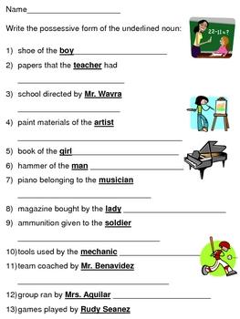 possessive forms of nouns