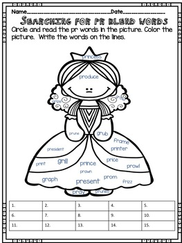 pr Blend Word Work - No prep! Includes real photos!
