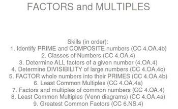 HS [Remedial] Pre-Algebra A UNIT 8:Factors, Multiples (4 worksheets; 7 quizzes)