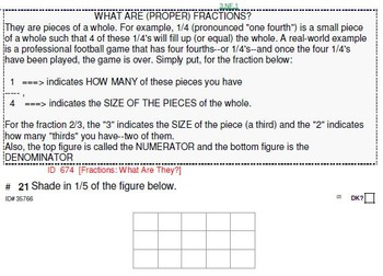 HS [Remedial] Pre-Algebra B UNIT 1:Intro to Fractions (4 worksheets; 7 quizzes)