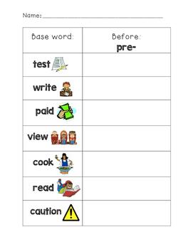 pre- Prefix Worksheet
