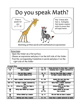 Do you speak math? - Writing numerical expressions from written words