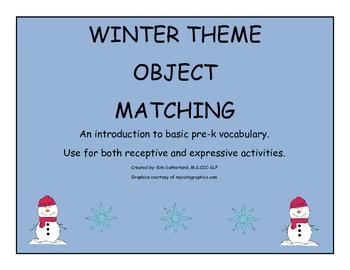 pre-k object/vocabulary matching winter theme