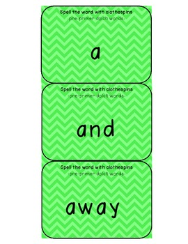 pre-primer dolch words clothespin activity cards