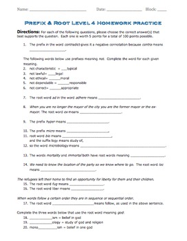 Prefix & Root Word Parts Level 4 (Worksheet and Quiz)