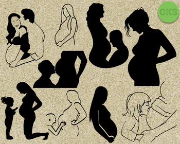 pregnancy SVG cut files, DXF, vector EPS cutting file instant download