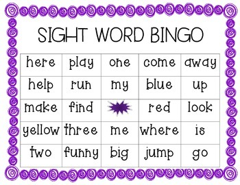 preprimer sight word bingo