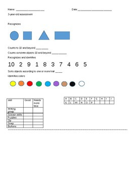 preschool assessment for 3 and 4 year olds