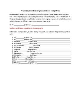 present subjunctive original sentence completion worksheet