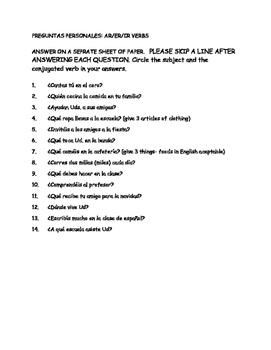 present tense questions practice
