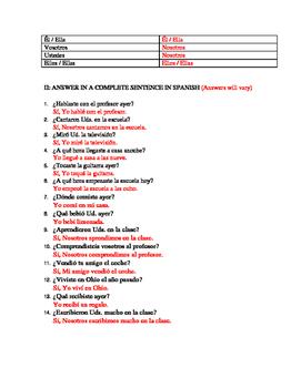 preterite quiz regular ar, er, ir  and car, gar, zar verbs