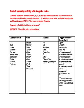 preterite speaking activity with irregular verbs