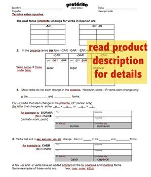 preterite sekeletal grammar notes / formación del pretérito