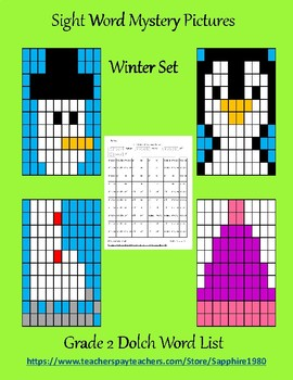 Winter Sight Word Mystery Pictures Grade 2 dolch list