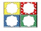 primary colors and polka dots book bin labels