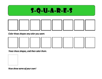primary grades basic shapes center - color, trace, draw, and spell shapes