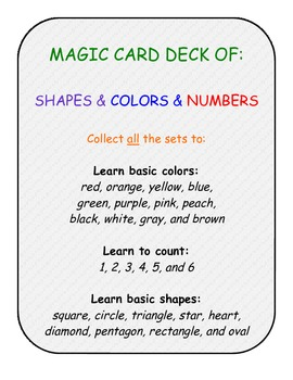 primary pre-k k numbers shapes colors card game SET A+B+C+