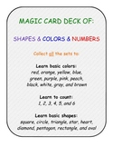 primary pre-k k numbers shapes colors card game SET C - 108 cards
