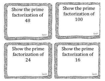 prime/composite and prime factorization task cards STAAR review