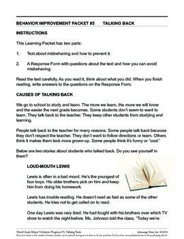 principal's Resource: 3rd Grade Behavior Improvement: TalkBack
