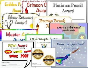 ART AWARD CERTIFICATES printable, colorful, several categories to choose from!