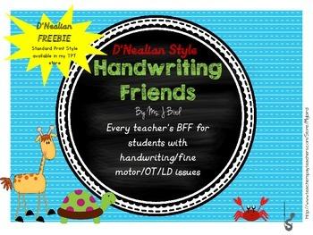 printable Handwriting BFFs FREE handwriting helpers