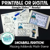 printable and digital math game winter missing addends