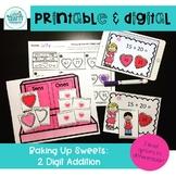 printable and digital math game valentine 2 digit addition