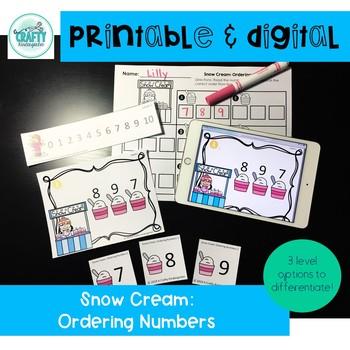 printable and digital math game winter ordering numbers