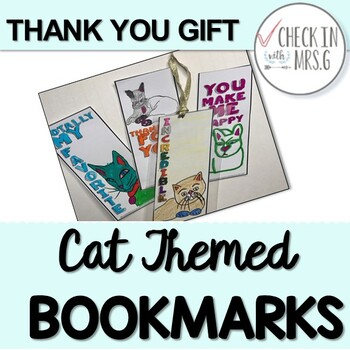printable bookmarks: cat themed thank you gift