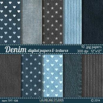 printable digital paper with denim texture