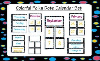 printable polka dot calendar set