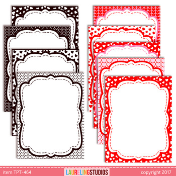 14 printable task cards & product page borders with Valentine's Day heart design