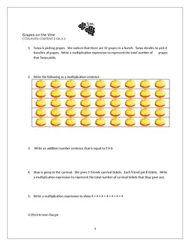 """Printable Worksheet for Common Core Standard 3.OA.A.1  """"Grapes"""""""