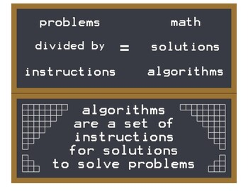 problems divided by instructions equals solutions math algorithms 2 banners 8x10
