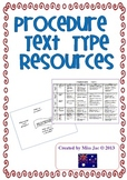 procedure genre / text type resources for a writing unit