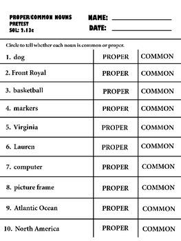 proper and common nouns pre-post tests