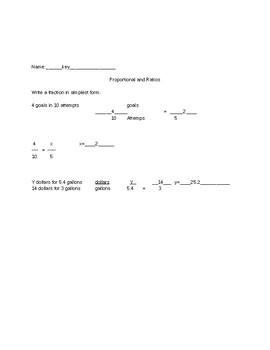 proportional and ratios quiz