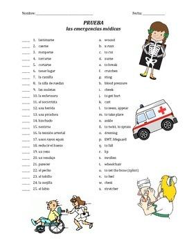 prueba de vocab - emergencias medicas (matching)